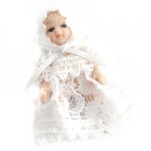 Baby i vita spetskläder 5 cm