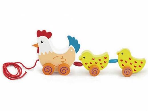 Höna med kycklingar dragleksak