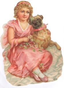 Bokmärken flicka hund retro