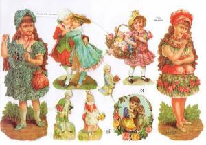 Bokmärken blomflickor barn retro