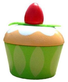 Bakelse-ask, grön m jordgubbe tand-ask