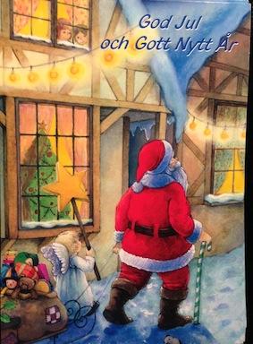 Kort julkort m tomte o ängel m klappar