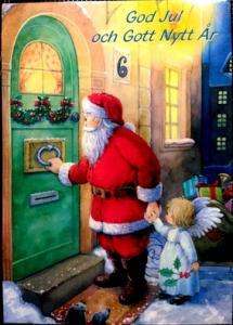 Kort julkort m tomte o ängel knackar på