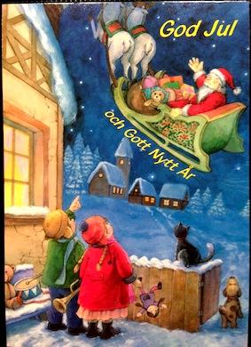 Kort julkort m tomte i släde o barn