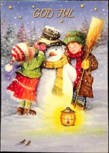 Kort julkort m barn o snögubbe