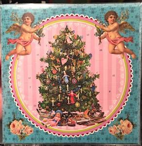 Adventskalender kort Julgran änglar retro