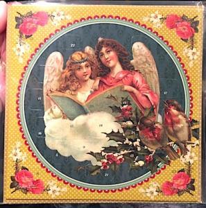 Adventskalender kort Änglar läser retro