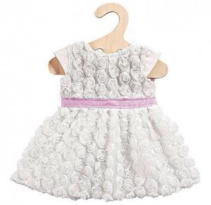 Dockkläder klänning vit rosor 40cm