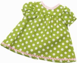 Dockkläder Klänning dockklänning grön vita prickar dockor 40 cm
