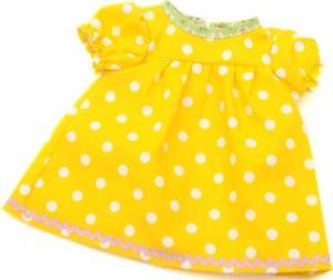Dockkläder Klänning dockklänning gul vita prickar dockor ca 40 cm