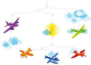 Mobil Flight med flygplan, moln och sol