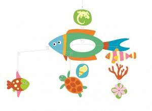 Mobil Polynesia med fiskar, skölddpaddor mm