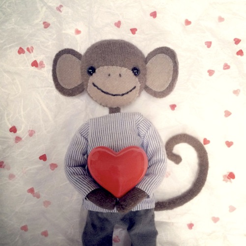 Kort Monkey in Love valentinekort