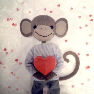 Kort Monkey in Love valentinekort