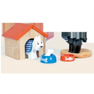 Hund och katt set med matskålar, koja och bädd