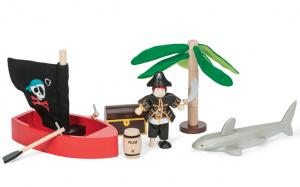 Pirat-set äventyr m haj, båt skattkista