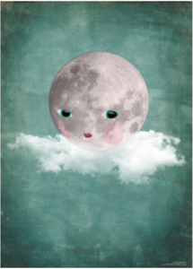 Moon on cloud print 30x40 cm