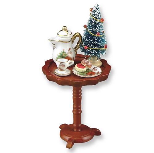 Bord med julgran, kaffe & kakor
