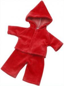 Dockkläder Mysdress till dockan röd ca 40