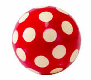 Studsboll röd vita prickar