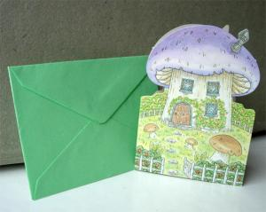 Kort m kuvert, skoj lila svamp