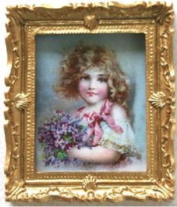 Tavla flicka barn m blom