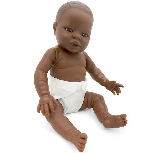 Baby flickdocka Tiny 33 cm mörk