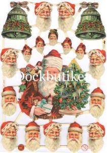 Bokmärken tomtar klocka julgran retro