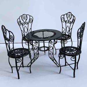 Trädgårdsmöbler bord + 4 stolar svart