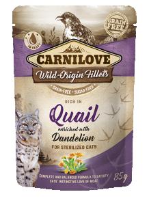 Carnilove Cat Pouch Quail enriched with Dandelion for sterilized 85 g