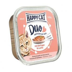 HappyCat Duo meny Paté fågel & lax, 100 g