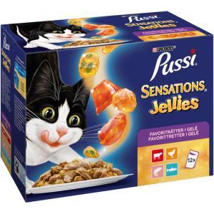 PUSSI Sensations Jellies Favoriträtter 12x100 g