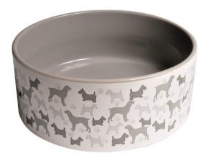 Keramikskål vit med hundmotiv