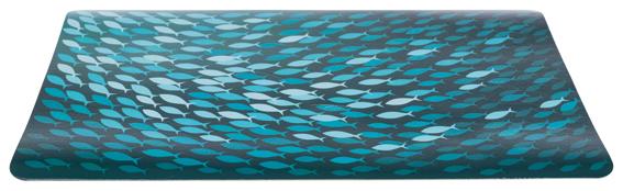 Matskålsunderlägg fiskstim 44 x 28 cm, petrol/blå