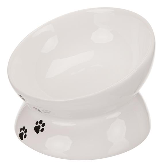 Keramikskål, katt 0,25 liter/ 13 cm, vit