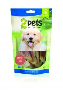 2pets Dogsnack Rabbit ears with rabbit meat, 100g
