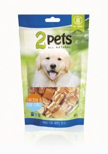 2pets Dogsnack Chicken/Fish Cubes 100 g