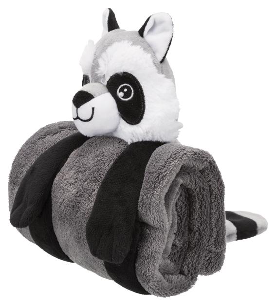 Cuddly Set, tvättbjörn med filt, plysch, 75 x 50 cm, mörkgrå