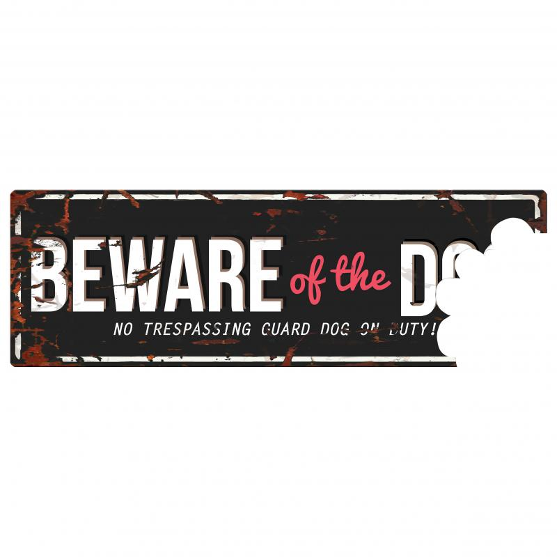 Skylt BEWARE OF THE DOG 40x14 cm, svart