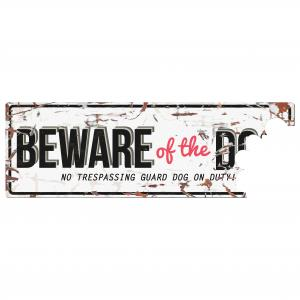 Skylt BEWARE OF THE DOG 40x14 cm, vit