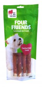 Four Friends Dog Twisted Stick Lamb 25 cm 4-pack