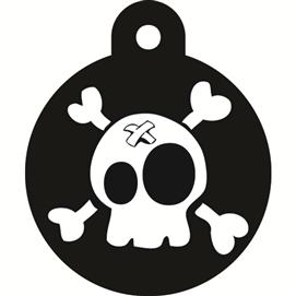 ID-bricka liten cirkel svart pirat