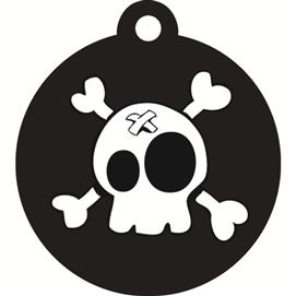 ID-bricka stor cirkel svart pirat