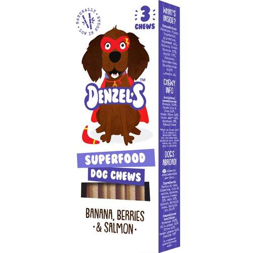 Denzel's Superfood Dog Chews, Banana, Berries & Salmon, 3-pack