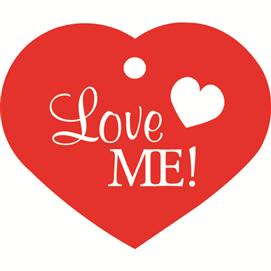"""ID-bricka stort hjärta """"Love Me!"""""""