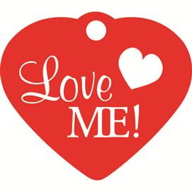 """ID-bricka litet hjärta """"Love Me!"""""""