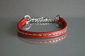 Eckers läderhalvstryp med nitar rött