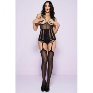 Garter Catsuit With Open Cups