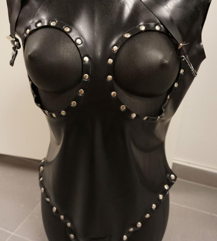 Latex Leotard Latex med brösthål utan ärmar