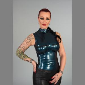 Latex high collar top with zippers
